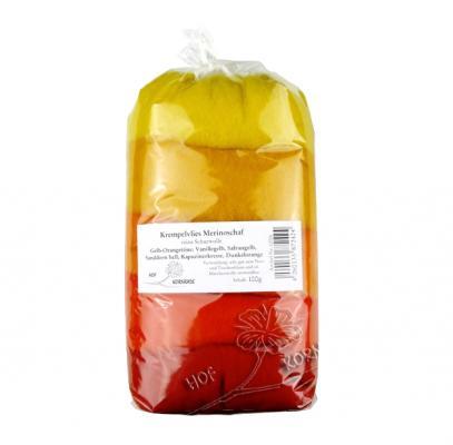 Filzwolle (Merino im Krempelvlies) Gelb–Orangetöne