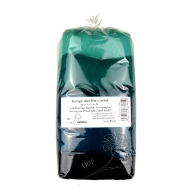 Filzwolle (Merino im Krempelvlies) Grün-Blautöne