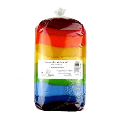 Filzwolle (Merino im Krempelvlies) Regenbogen