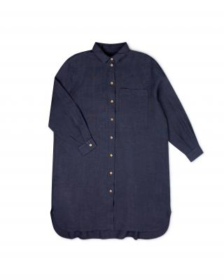 Hemdkleid aus Leinen indigo