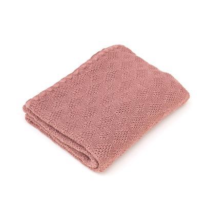 Babydecke aus Wolle rosé