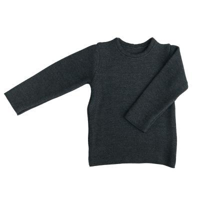 Linksstrick Pullover aus Wolle anthrazit