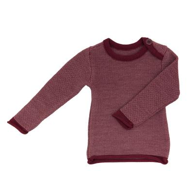 Melange-Pullover aus Wolle bordeaux/rose