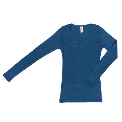 Damenhemd langarm aus Wolle saphir