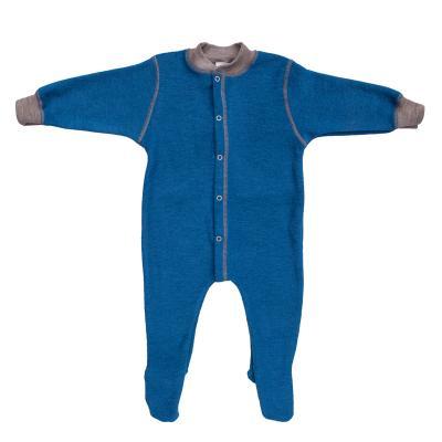 Schlafanzug mit Fuß Wollfrottee ozean
