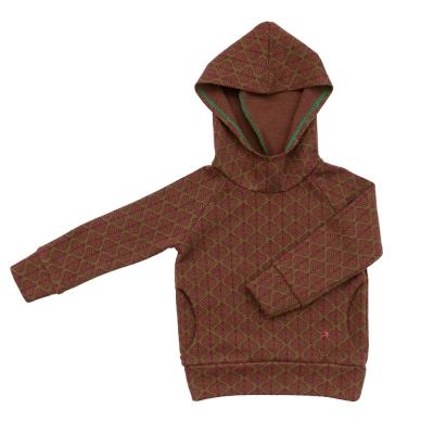 Kapuzenpullover aus Wolle messing/bordeaux