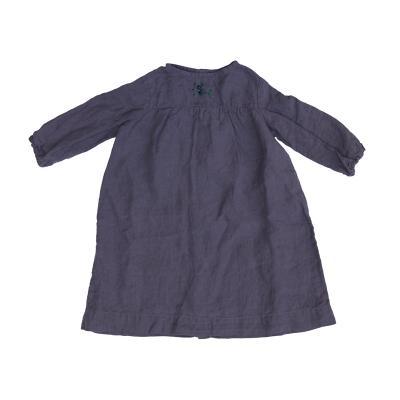 Leinenkleid handbestickt purpur