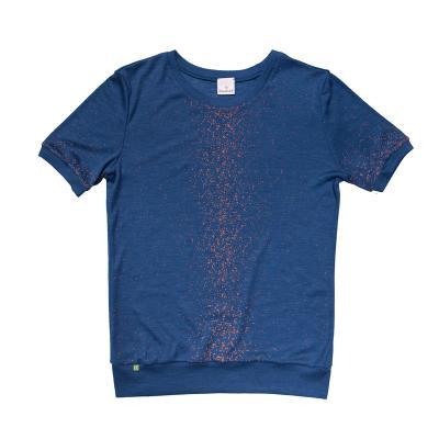 Frauenshirt WS kurzarm bedruckt blau