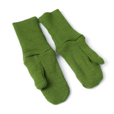 Handschuhe aus Wolle moosgrün