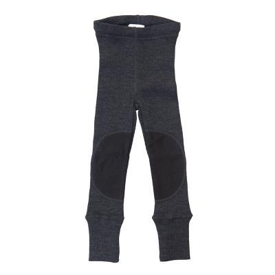 Leggings aus Wolle nebelschwarz mit Knieflicken