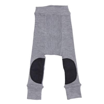 Longie aus Wolle wolkensilber mit Knieaufnäher
