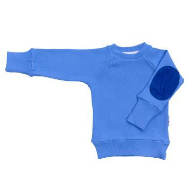 Pullover mit Aufnäher aus Wolle provence-blau