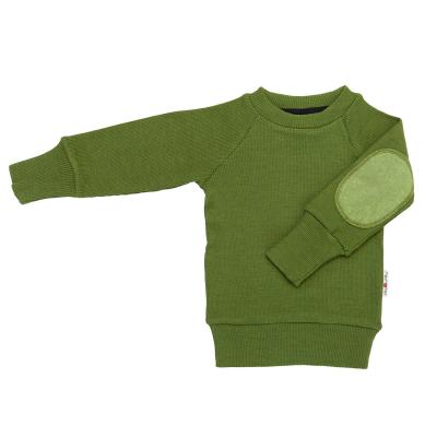Pullover mit Aufnäher aus Wolle moos