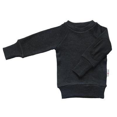 Pullover mit Aufnäher aus Wolle nebelschwarz