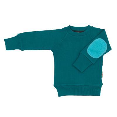 Pullover mit Aufnäher aus Wolle meeresgrün