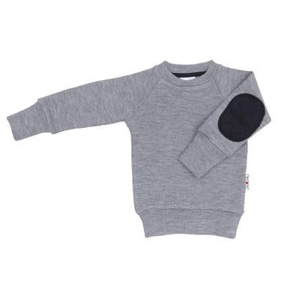 Pullover mit Aufnäher aus Wolle wolkensilber