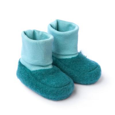 Baby-Schühchen aus Wollfleece smaragd