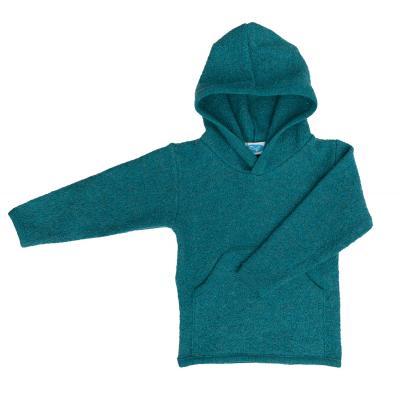 Hoodie aus Kreppwalk smaragd