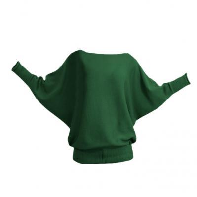 Fledermauspullover aus Wolle grün