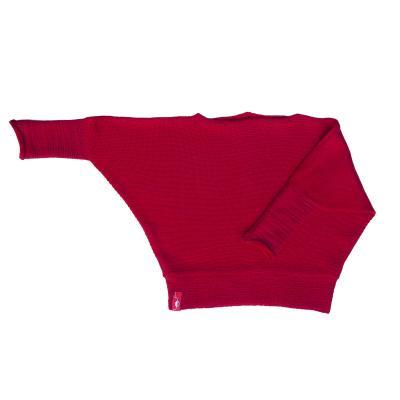 Fledermauspullover aus Wolle für Kinder rot