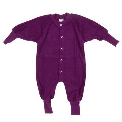 Schlafanzug ohne Fuß Wollfrottee pflaume