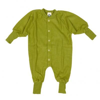 Schlafanzug ohne Fuß Wollfrottee grün