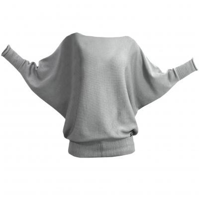 Fledermauspullover aus Wolle silber
