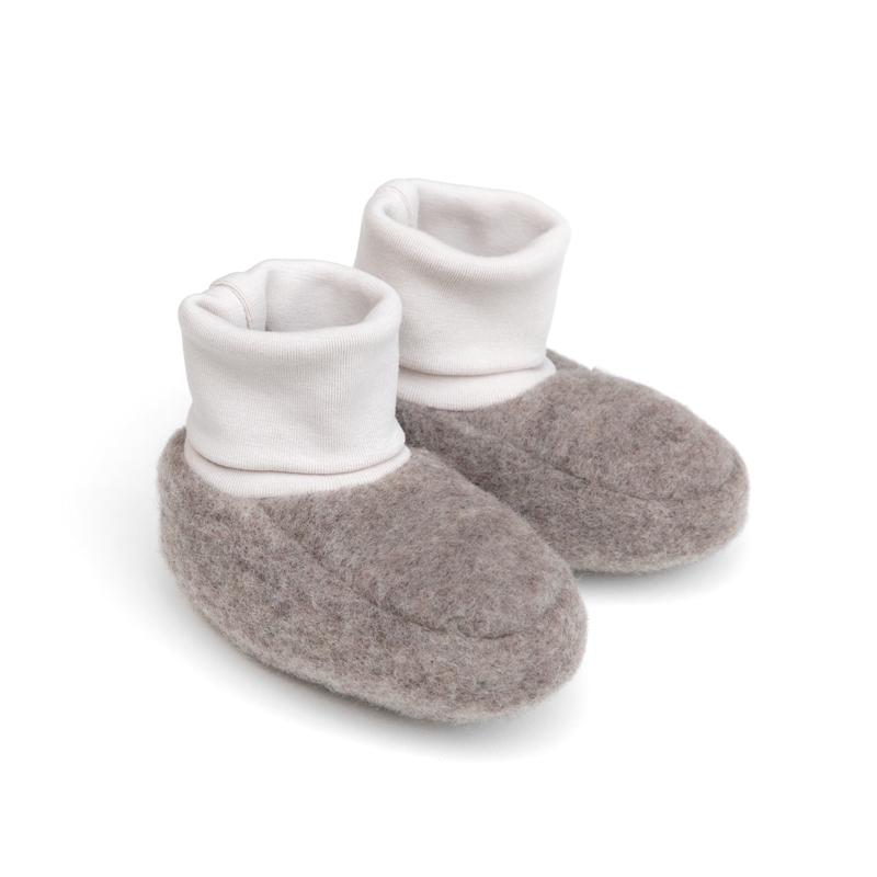 reputable site bc8b6 9827d Baby-Schühchen aus Wollfleece graubraun